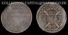 20 Sols 1708 Siège de Lille, Flandre. Monnaie Obsidionale. Cuivre