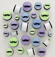 1 Pair Mustache Acrylic Single Flare Ear Plugs Gauges W/ O Rings Pick Size Color