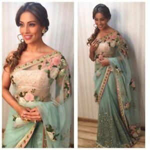 Stylish Indian NET Bollywood Saree Ethnic Pakistani Wedding Party Wear Sari