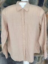 Ralph Lauren Women's Large Linen Top Beige Button Down Shirt Long Sleeve Blouse