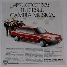 Advert Pubblicità 1986 PEUGEOT 309 DIESEL