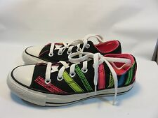 CONVERSE ALL STARS Black Sneakers With Neon Stripes Women's Size 6 EUC