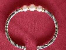 David Yurman Rio Rondelle White Pearl Bracelet Sterling Silver & 750 18k Gold