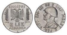 ALBANIA Vittorio Emanuele III 2 Lek 1939 XVIII