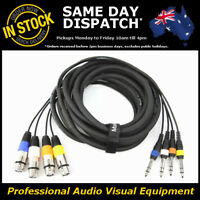 """5-Metre 4-Way XLR Female to 1/4"""" Multicore Microphone Mic PA Cable Lead Cord 5M"""