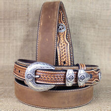 34 INCH M&F WESTERN NOCONA LEATHER RANGER STAR CONCHO BROWN MENS BELT
