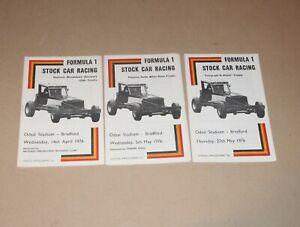 1976 Bradford Brisca F1 stock car programmes x 3 (14 April, 5 May & 27 May)