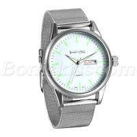 Men's Fashion Simple Stainless Steel Mesh Band Date Luminous Quartz Wrist Watch