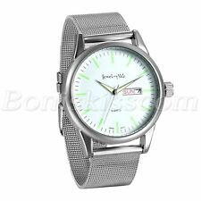 Men's Fashion Simple Stainless Steel Mesh Band Date Luminous Quartz Wrist Watch
