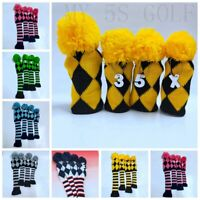 4pcs Pom Pom Knit Headcover Long Neck Driver Fairway Woods Cover Hybrid Callaway