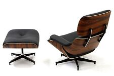 Plywood Lounge Chair Ottoman Palisander 100% Genuine TOP GRAIN Italian Leather