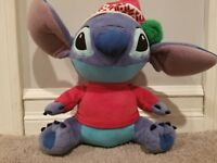 Disney Store Christmas Lilo & Stitch Plush Stuffed Santa Hat 11""