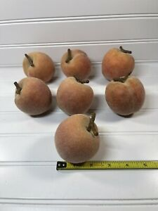 7 Faux Peaches Fake Fruit Fuzzy Plastic Display Home Decor