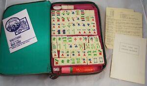 Vintage Mah Jong Mahjong Set with zip around travel case 142 Tiles