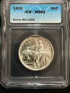 1925 50c Stone Mountain Silver Commemorative ICG MS62 Half Dollar Double Die OBV