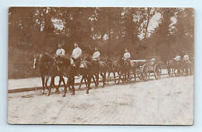 ANTIQUE Vintage WW1 GERMAN Real Photo RPPC Postcard SOLDIERS & HORSES w/ WAGON