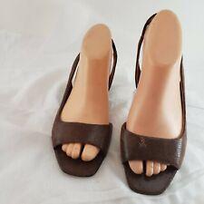 Bandolino Brown Snake Print Leather Peep Toe Wedge Slingback Sandal  Size 7.5 M