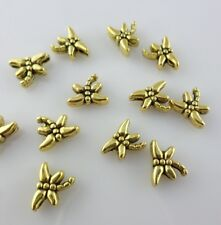 60pcs Tibetan Gold Small Dragonfly Spacer Beads 3x8mm For Jewelry Making