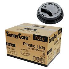 SunnyCare 8 oz. Black Plastic Travel Lid 1000 / Case