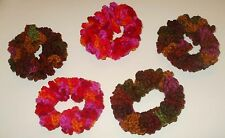 NEW LOT OF 5 HANDMADE CROCHET HAIR SCRUNCHIES SET RED BROWN PINK ORANGE