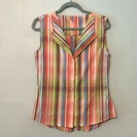 Walls Cowgirl Ranch Wear Sleeveless Plaid Pearl Swirled Snap Western Shirt Sz S
