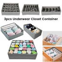 3 x Foldable Underwear Sock Bra Tie Draw Divider Organiser Storage Container Box