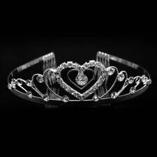 Bridal Tiara Crown Silver Swarovski Rhinestone Elements Swirl Design With Heart