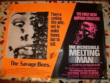 THE SAVAGE BEES/THE INCREDIBLE MELTING MAN DOUBLE BILL, UK QUAD POSTER 30 X 40