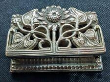 Vintage Art Nouveau style Brass SUNFLOWER STAMPHOLDER CHEST DESKTIDY COLLECTOR