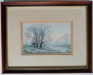 John Straw Signed Ltd Ed Framed Print Rising Mist Winter Landscape Framed