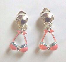 Boucles d'oreilles argentées clips haut de maillot de bain rose
