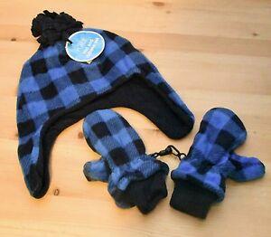 the children's place Toddler Boys Blue Plaid Glacier Fleece Hat & Mitten Set