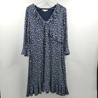 Boden Fluted Wrap Style Stretch Jersey Lined Dress Dainty Floral Boho 14R $120