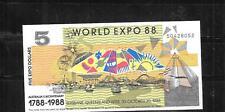 Australia Expo 1988 Au-Mint Crisp $5 Dollar Banknote Paper Money Currency Note
