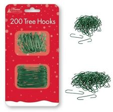 200 Tree Hooks Green Wire Christmas Ornaments Decorations Home Bauble Outdoor