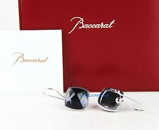 BACCARAT JEWELRY MEDICIS STERLING SILVER CLEAR BLACK MORDORE WIRE EARRINGS NEW