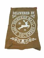 Hessian Sack Delivered by Reindeer Mail White Santa Stocking Christmas Presents