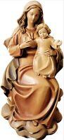 Estatua Madonna Con Niño CM 17 IN Madera De en Val Gardena Adornada a Mano
