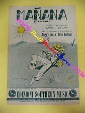 RARO SPARTITO SINGOLO Manana LARICI TESTONI BARBOUR 1949 SOUTHERN MUSIC no cd lp