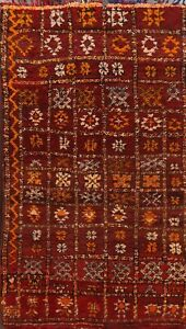 Thick-Plush Modern Moroccan Berber Geometric Oriental Area Rug Wool Handmade 4x6