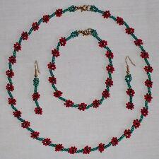 Single Poppy Beaded Necklace/Bracelet/Earrings Charity Jewellery Set