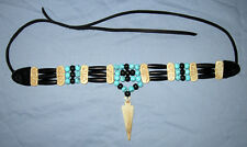 Handmade Native American Hairpipe & Turquoise Buffalo Bone Arrowhead Choker NWOT