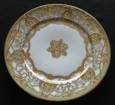 """Noritake Nipon Hand Painted Gold Raised Plate 8 1/2"""" Round"""