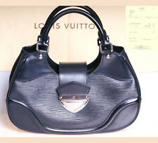 LOUIS VUITTON Tasche MONTAIGNE Noir EPI  LEDER Handbag BAG Silber TOP & RECHNUNG