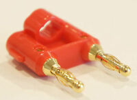 Red Dual Banana Plug 2 Conductor Terminal Gold Plated Speaker Connector
