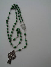 GREEN BEAD ROSARY OUR LADY OF KNOCK ITALY