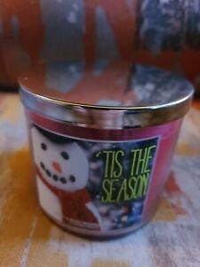Bath & Body Works 3 Wick Candle TIS THE SEASON Large 14.5oz Christmas Apple Pine