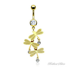 Belly Button Piercing Gold Plated Navel Piercing Pendant Dragonfly Crystal White