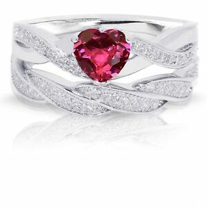 Infinity Celtic Ruby Red Heart Engagement Wedding Sterling Silver Ring Set
