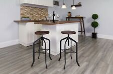 "24"" Barstool with Swivel Lift Wood Seat Matte Black Kitchen Stool Furniture"